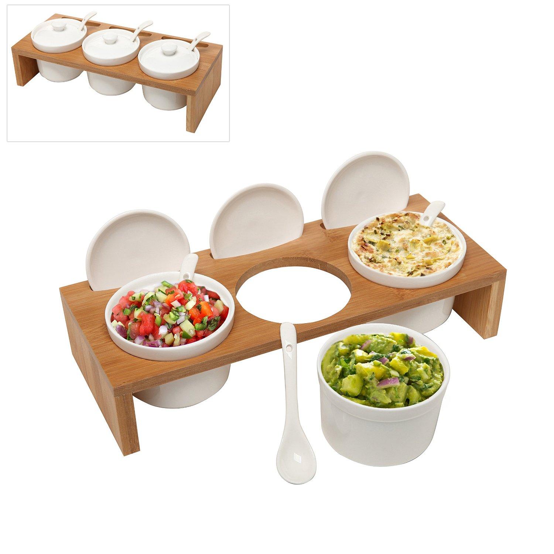 (3 Pcs) 3.5-Inch Ceramic Condiment Dip Sauce Ramekins Set w Lids & Spoons on Bamboo Sampler Serving Tray (1)