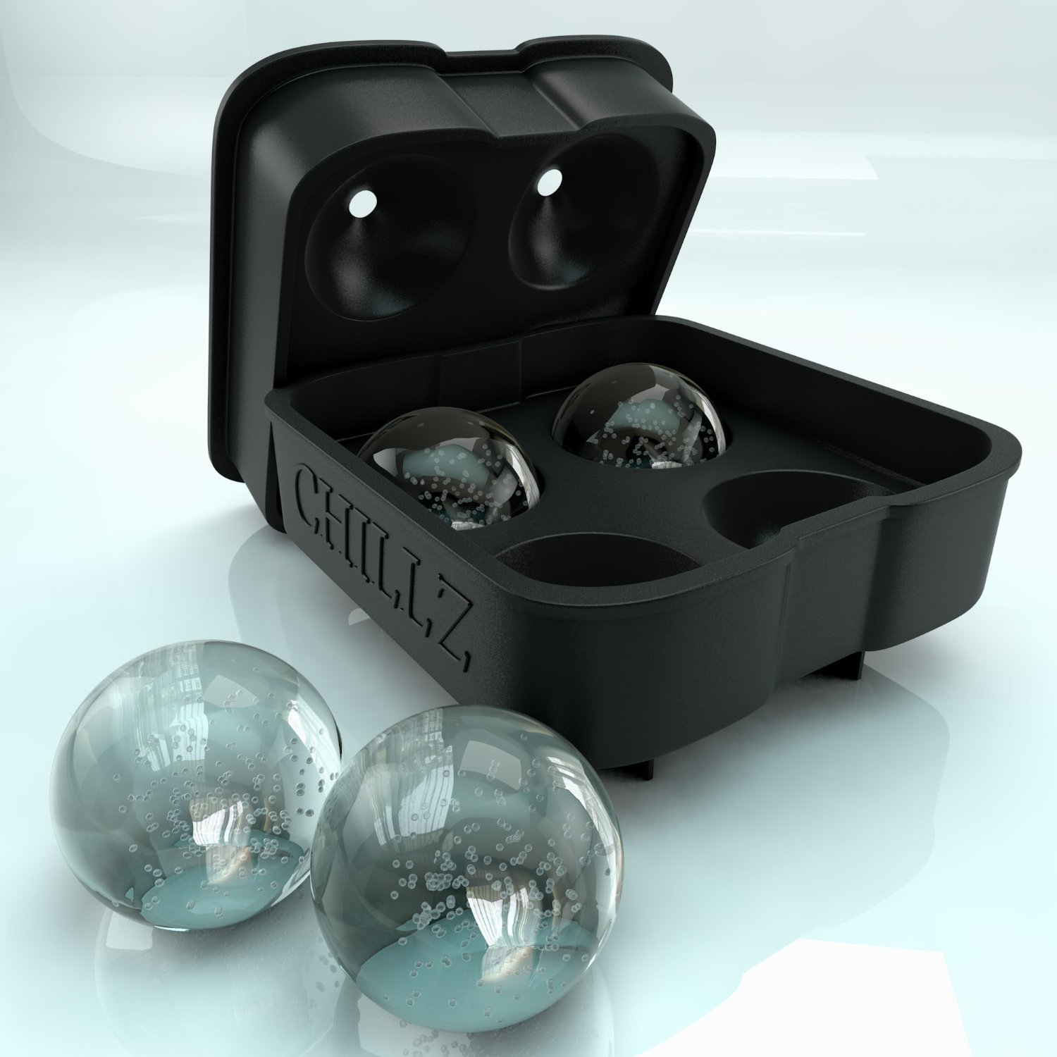 Chillz Ice Ball Maker - Black Flexible Silicone Ice Tray - Molds 4 X 4.5cm Round Ice Ball Spheres (1)