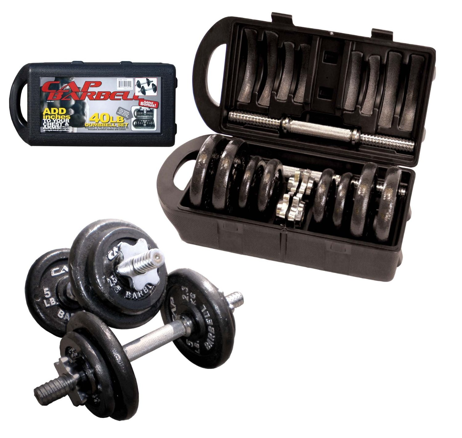 CAP Barbell 40-pound Adjustable Dumbbell Set with Case (1)