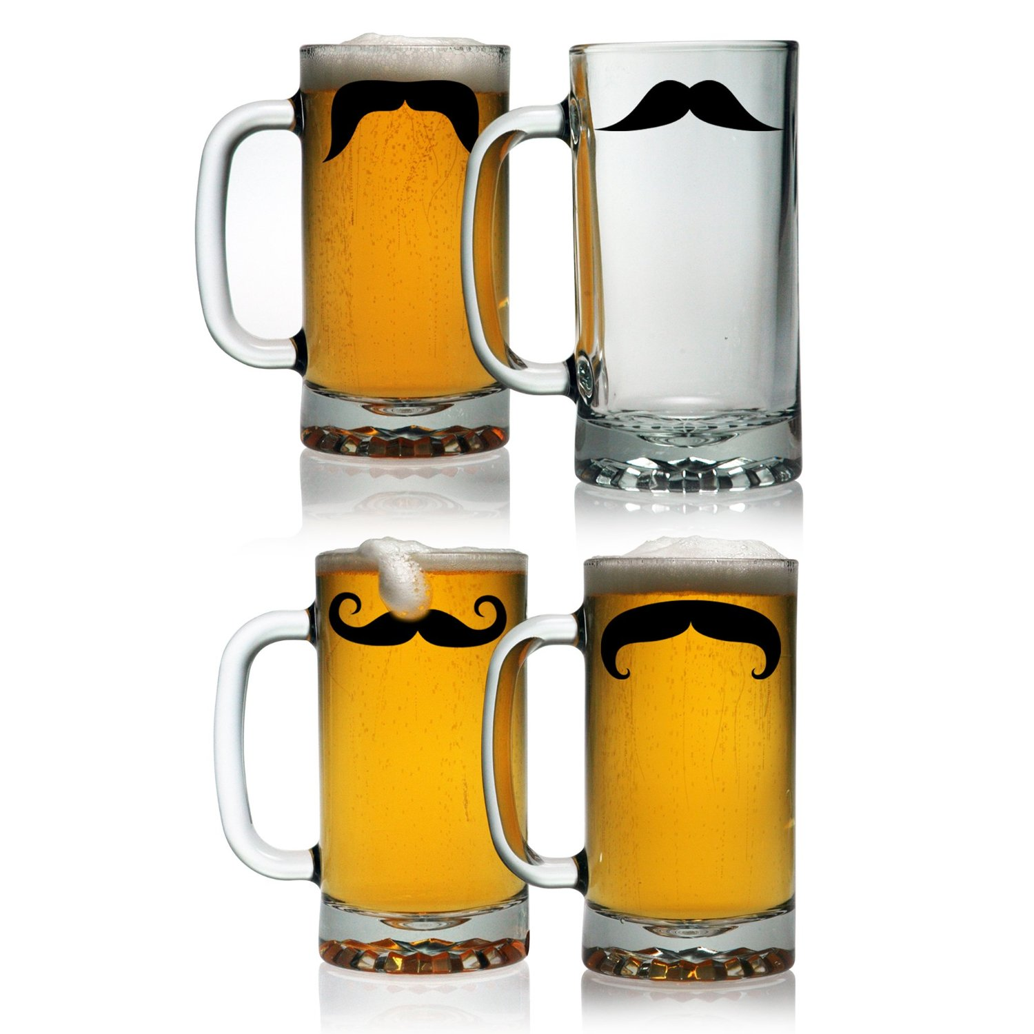 Susquehanna Glass Moustaches Pub Beer Mugs, 16-Ounce, Set of 4 (1)